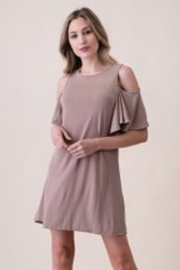 Froya Cold Shoulder Ruffle Shirt Dress - Product Mini Image