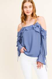 MONTREZ COLD SHOULDER RUFFLED BELL SLEEVE BLOUSE - Front cropped