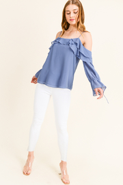 MONTREZ COLD SHOULDER RUFFLED BELL SLEEVE BLOUSE - Front full body