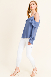 MONTREZ COLD SHOULDER RUFFLED BELL SLEEVE BLOUSE - Side cropped