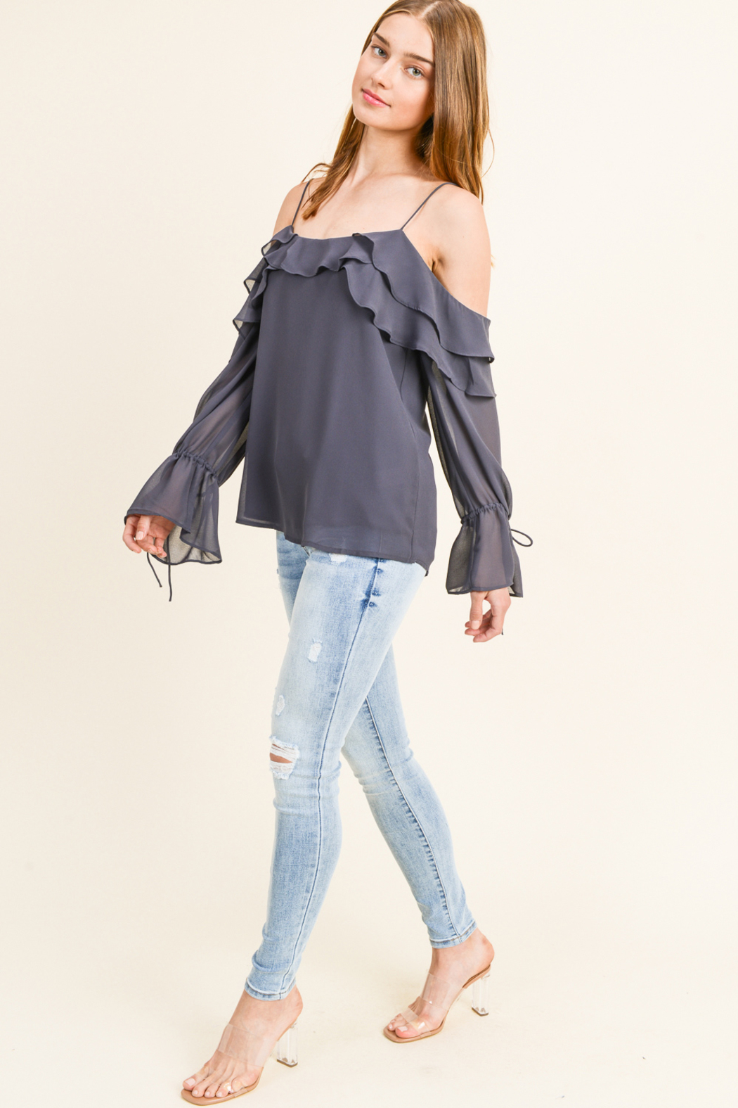MONTREZ COLD SHOULDER RUFFLED BELL SLEEVE BLOUSE - Side Cropped Image