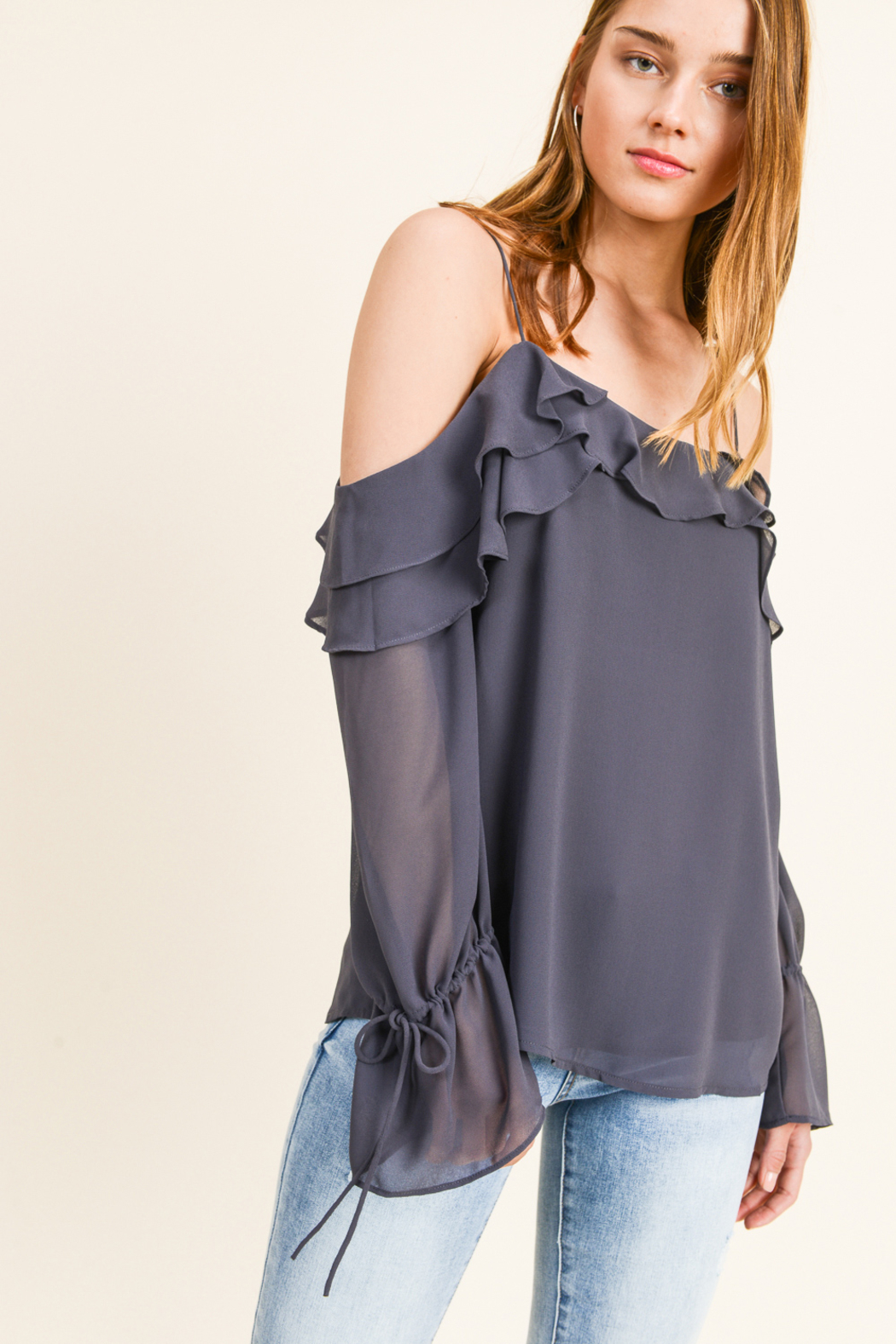 MONTREZ COLD SHOULDER RUFFLED BELL SLEEVE BLOUSE - Front Full Image