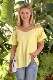 Ninexis Cold Shoulder Sleeve Top with Tie Bow Strap - Product Mini Image
