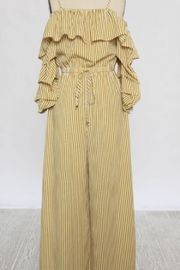 Jealous Tomato Cold-Shoulder Striped Jumpsuit - Product Mini Image