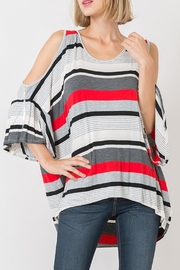 Love in  Cold-Shoulder Striped Tunic-Top - Product Mini Image