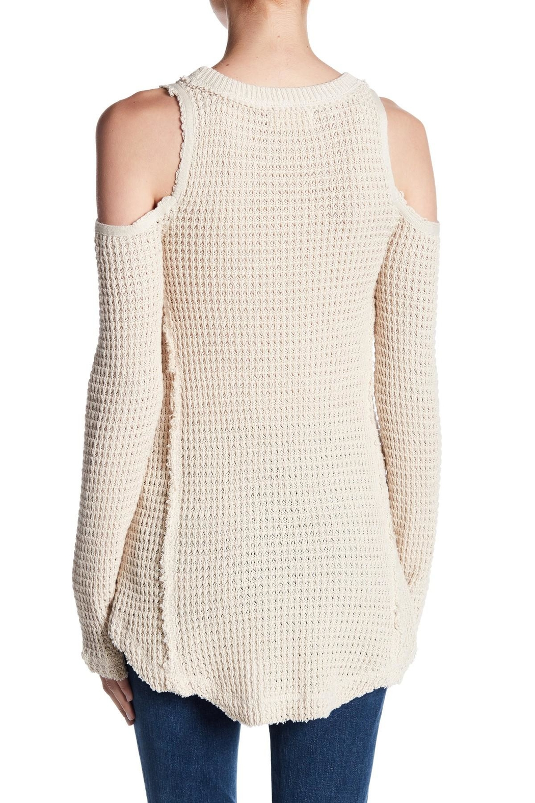 Elan Cold Shoulder Sweater - Front Full Image