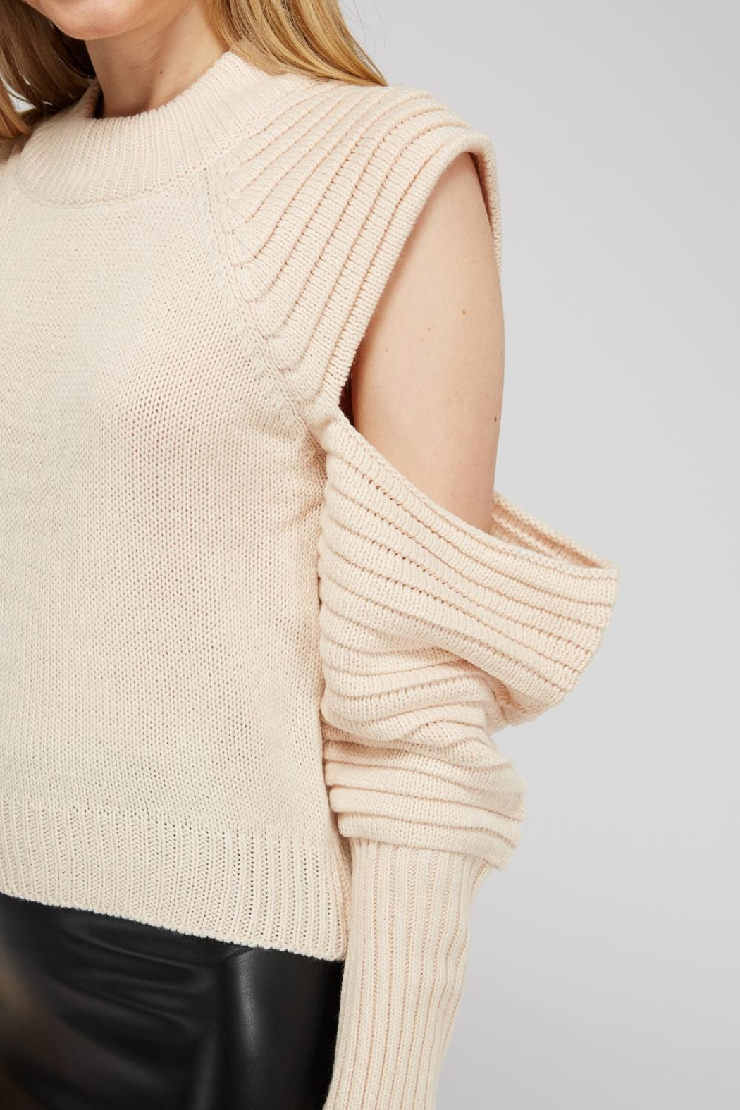 Uniq Cold Shoulder Sweater - Side Cropped Image
