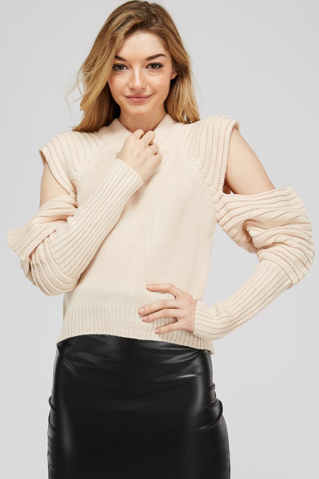 Uniq Cold Shoulder Sweater - Front Cropped Image