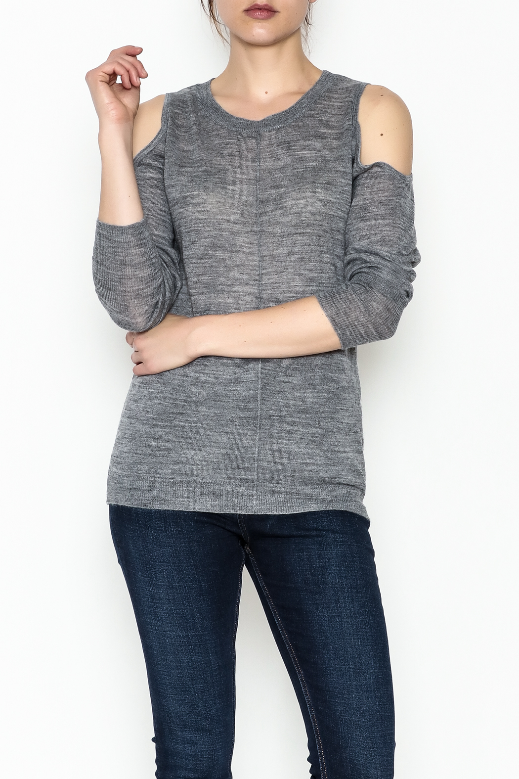 love token Cold Shoulder Sweater - Front Cropped Image