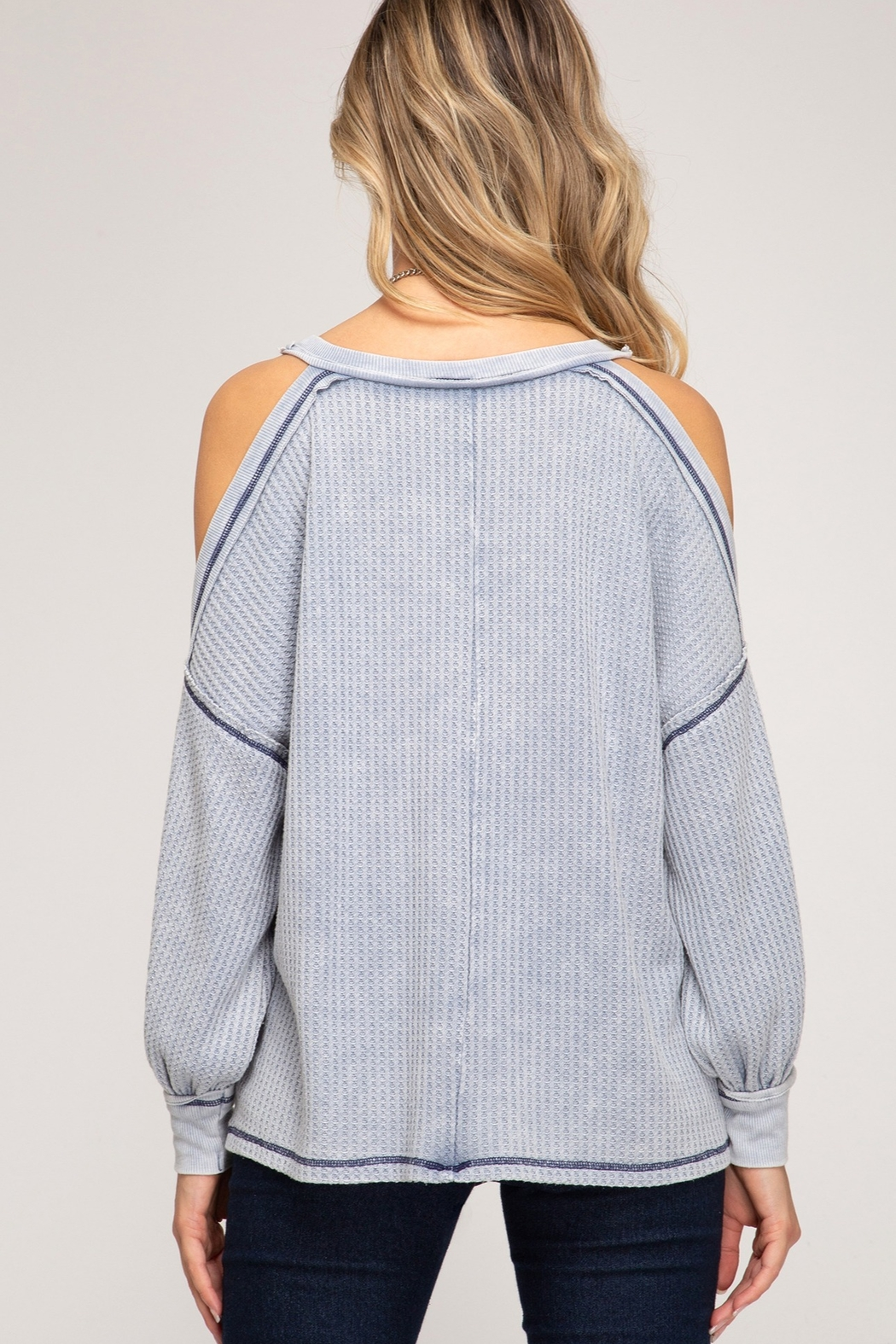 She and Sky Cold Shoulder Thermal Top - Front Full Image
