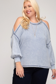 She and Sky Cold Shoulder Thermal Top - Side cropped
