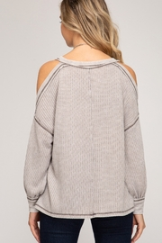 She and Sky Cold Shoulder Thermal Top - Front full body