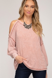 She and Sky Cold Shoulder Thermal Top - Front cropped
