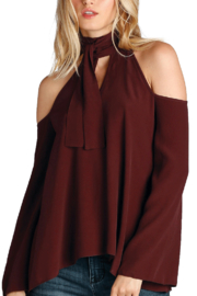Elan Cold Shoulder Tie Top - Product Mini Image