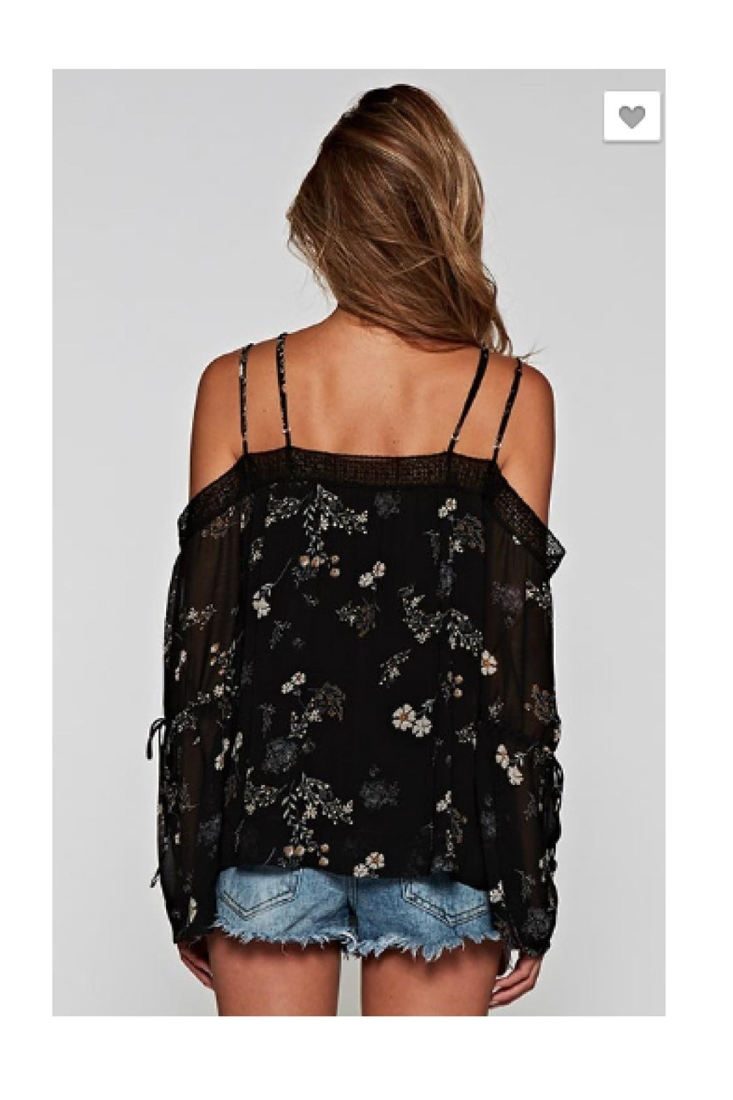 Love Stitch Cold Shoulder Top - Front Full Image