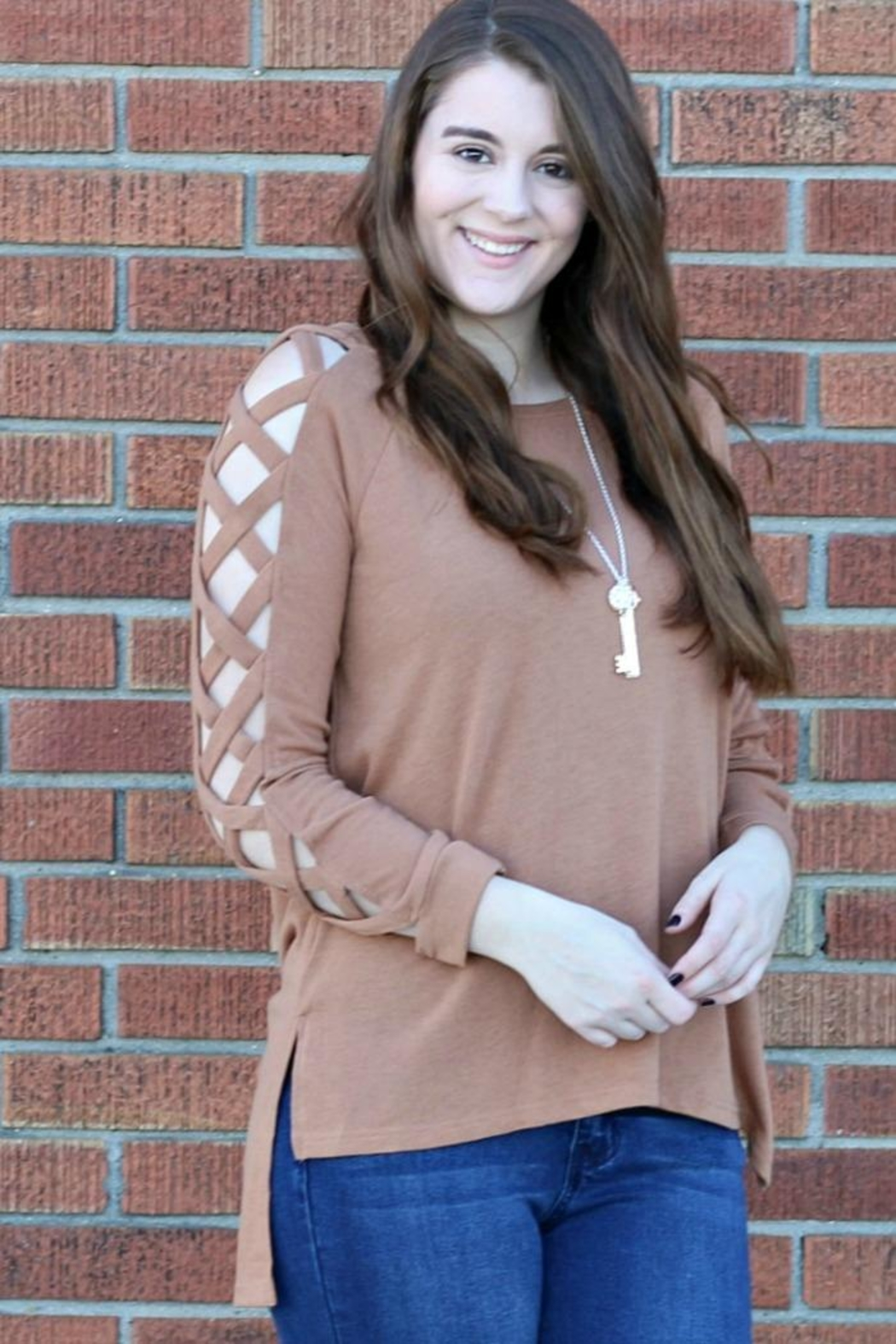 She + Sky Cold Shoulder Top - Front Full Image