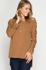 She + Sky Cold Shoulder Top - Front cropped