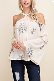 Blushing Heart Cold Shoulder Top - Product Mini Image