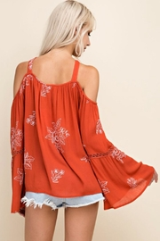 Blushing Heart Cold Shoulder Top - Side cropped