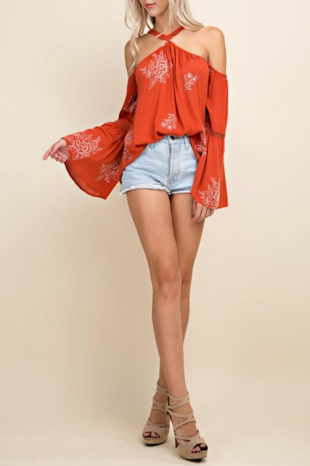 Blushing Heart Cold Shoulder Top - Front Cropped Image