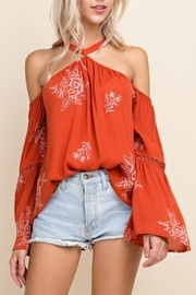 Blushing Heart Cold Shoulder Top - Front full body
