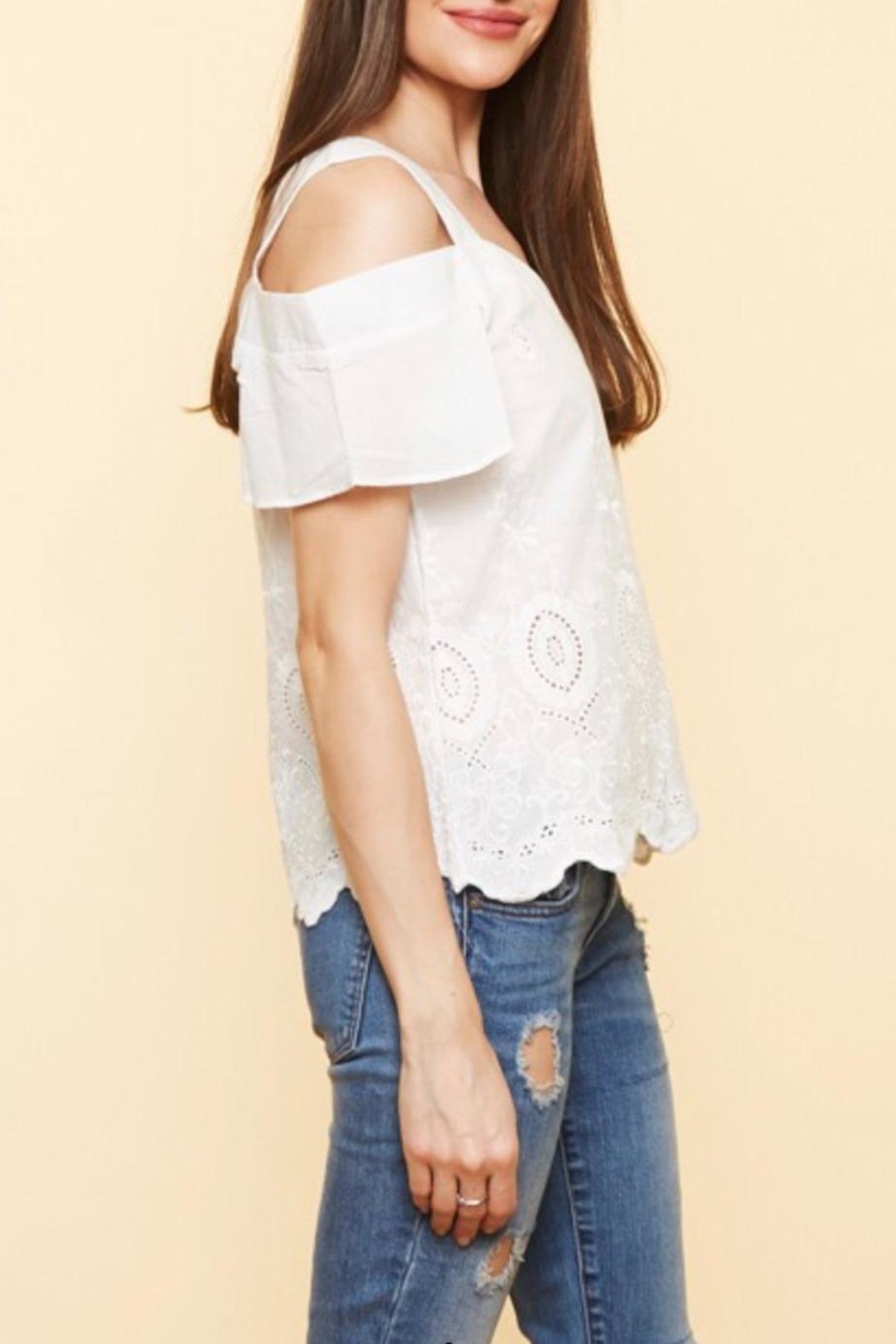 Available Cold Shoulder Top - Side Cropped Image