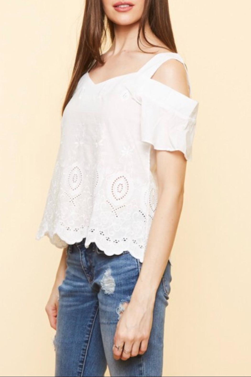Available Cold Shoulder Top - Back Cropped Image