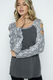 Twenty Second Cold Shoulder Top with Snake Print Contrast - Product Mini Image