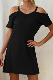 lily clothing Cold Shoulder TShirt Mini Dress - Front full body