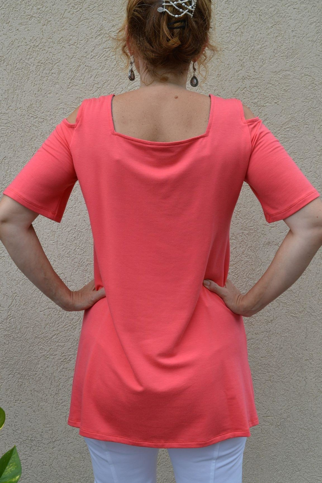 Pure Essence Cold Shoulder Tunic - Front Full Image