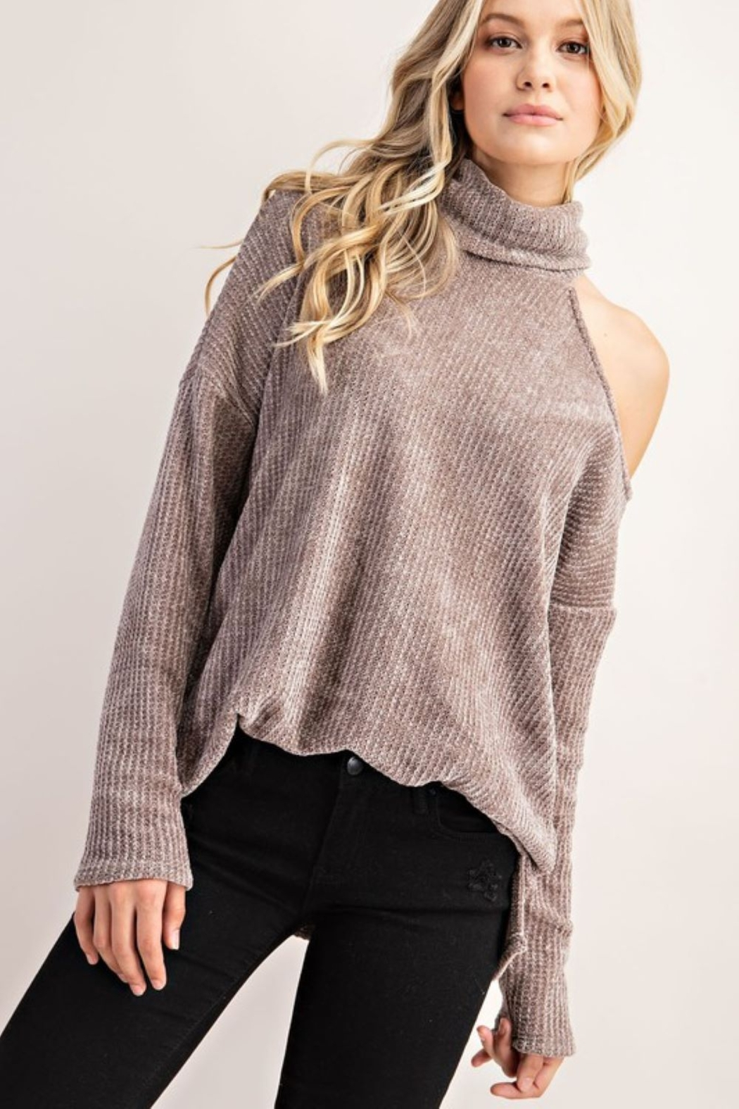 FSL Apparel Cold Shoulder Turtle Neck Top - Front Cropped Image