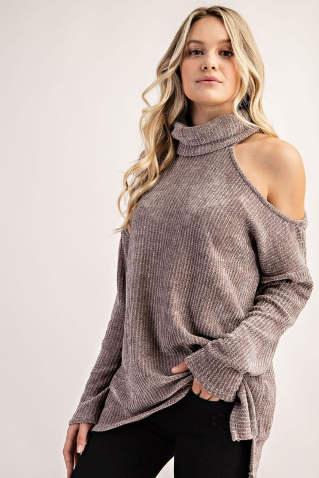 FSL Apparel Cold Shoulder Turtle Neck Top - Front Full Image