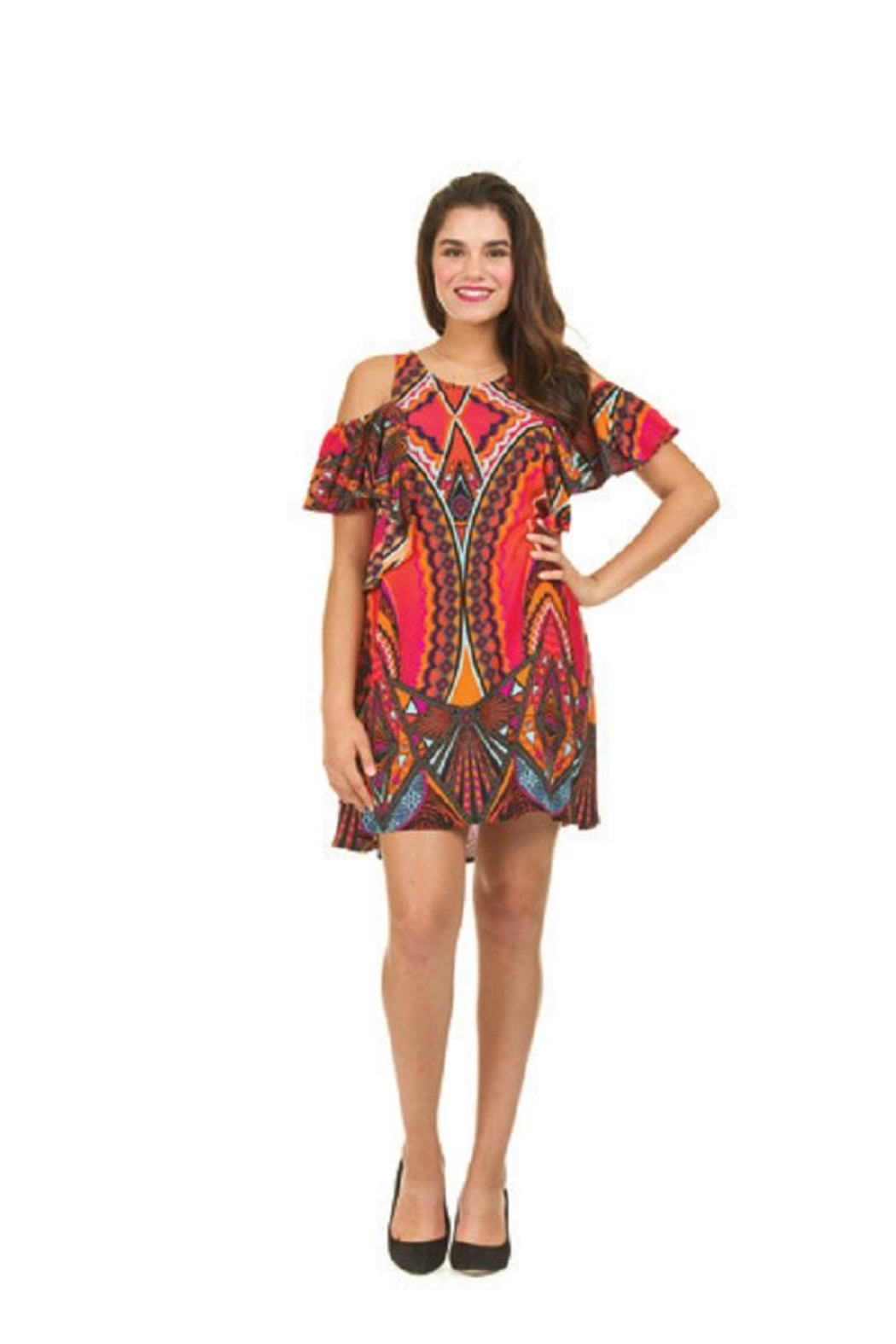 Papillon Coldshoulder Colorful Dress/tunic - Front Cropped Image