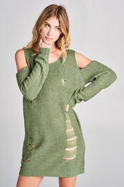 Racine Coldshoulder Distressed Sweater - Product Mini Image