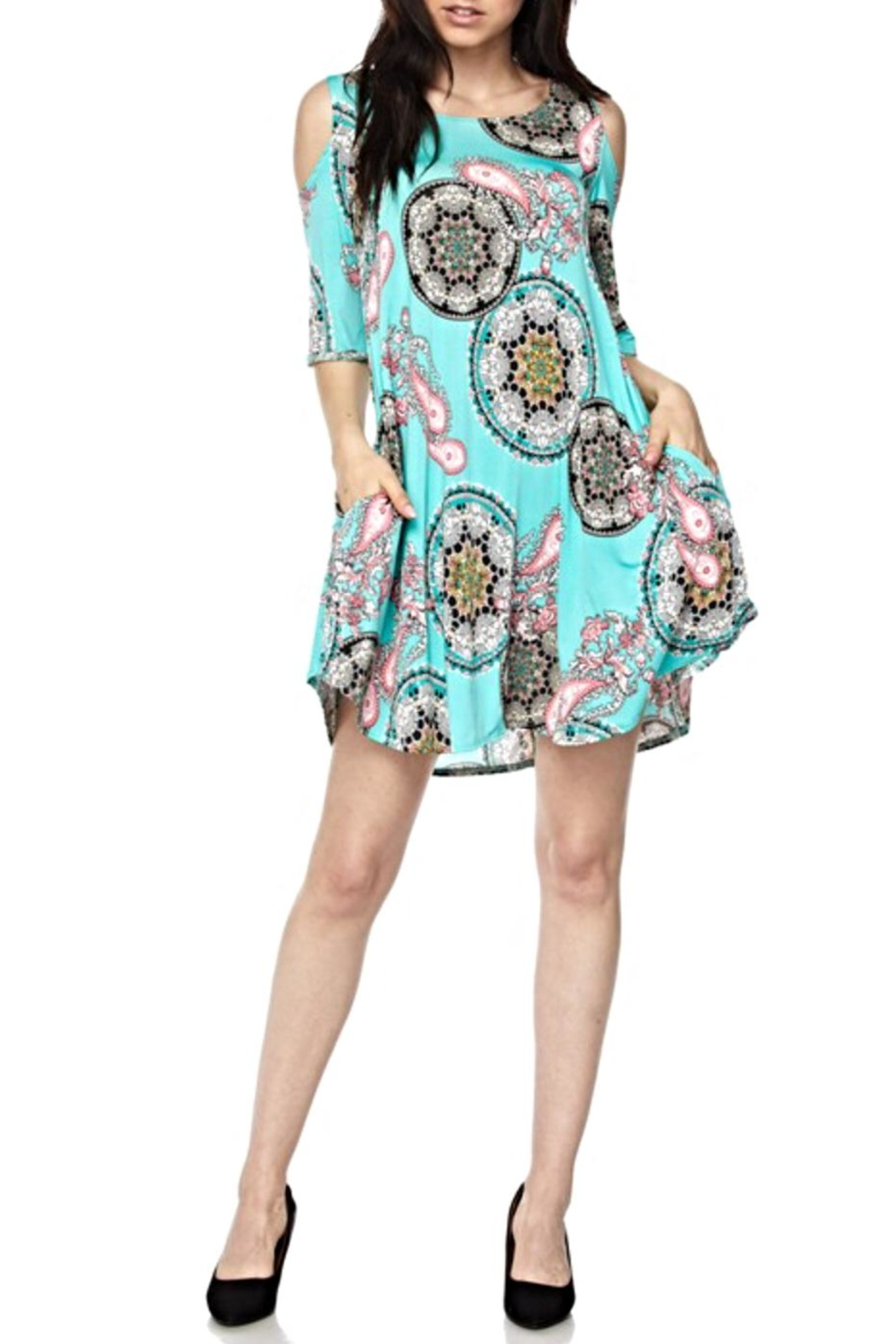 KITTY COUTURE  Coldshoulder Printed Tunic - Main Image
