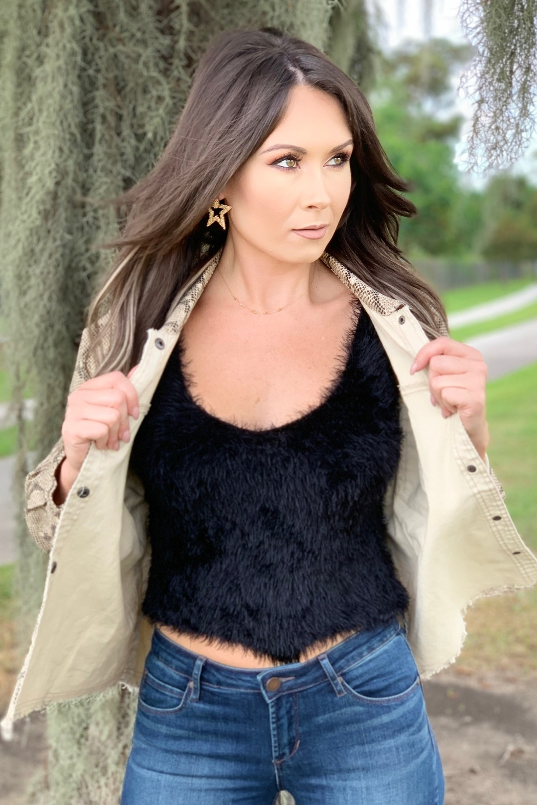 She + Sky Cole Fuzzy Cami Top - Front Full Image