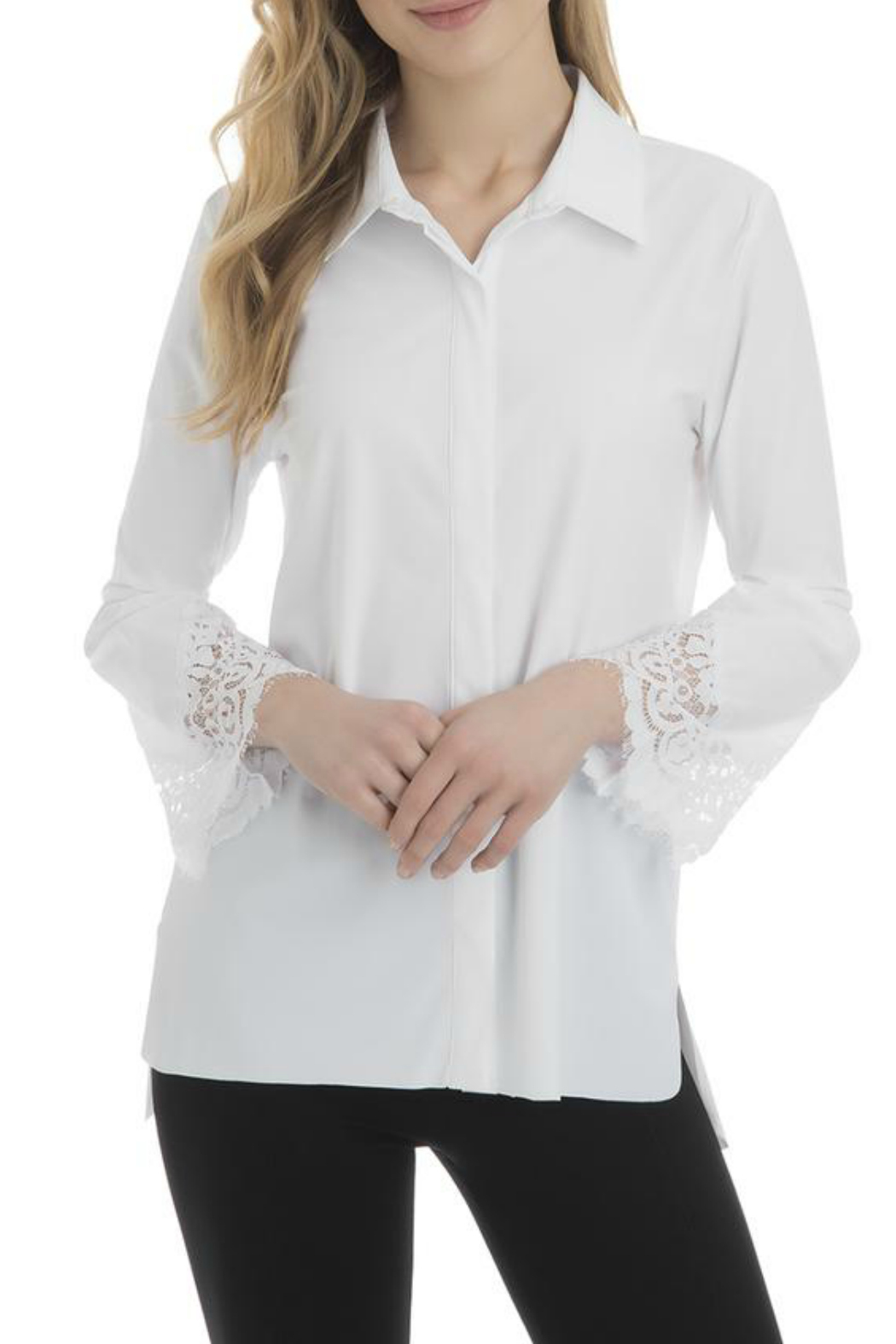 Lysse Colette Lace Sleeve Button Down - Front Cropped Image