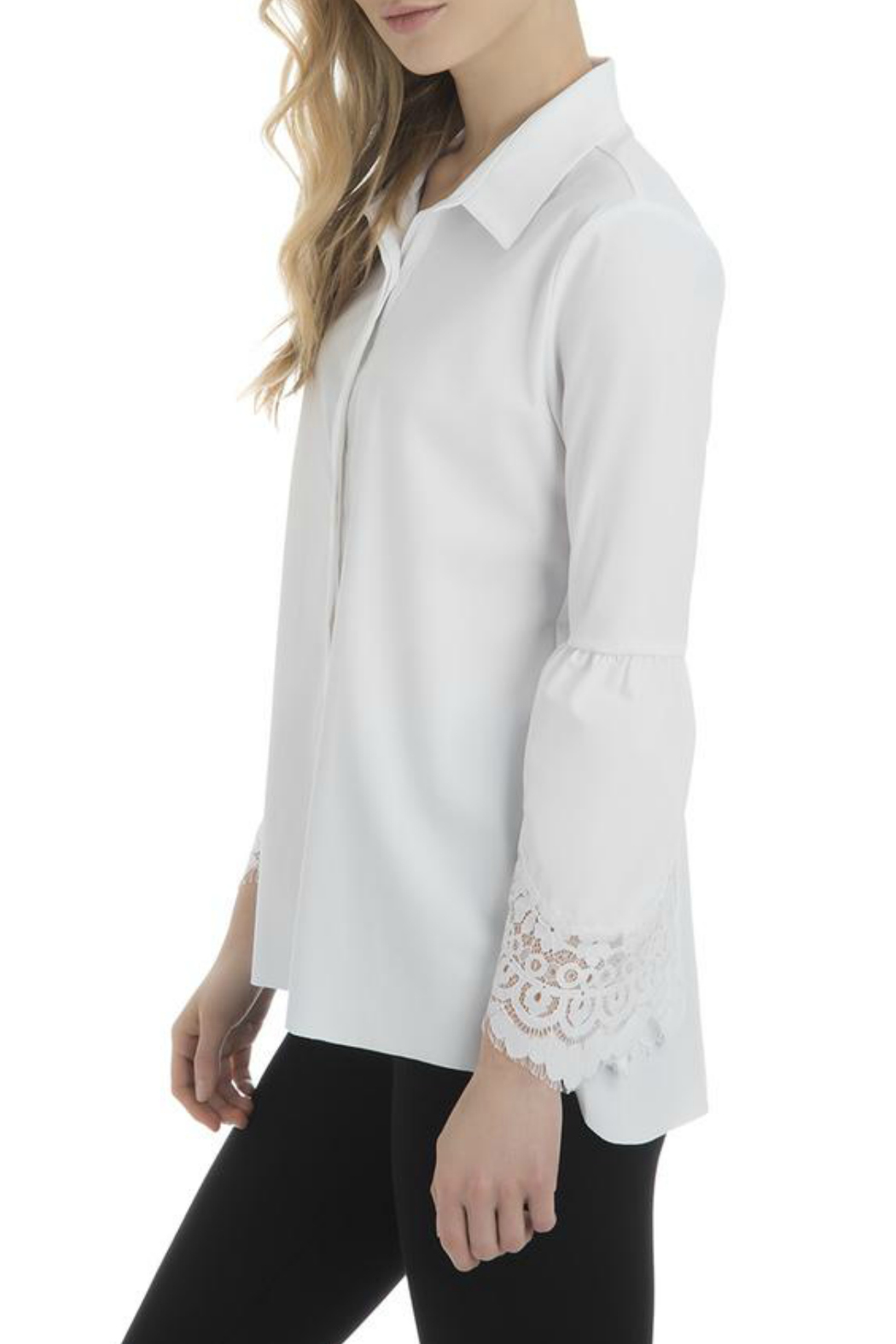 Lysse Colette Lace Sleeve Button Down - Front Full Image