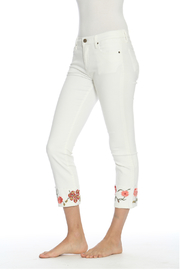 Driftwood Colette White Denim w Embroidered Hem - Front cropped