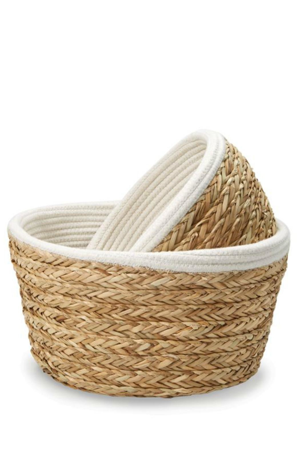 Mud Pie Collapsible Cotton-Straw Basket-Small - Front Full Image