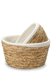 Mud Pie Collapsible Cotton-Straw Basket-Small - Front full body