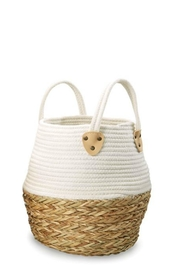 Mud Pie Collapsible Cotton-Straw Basket-Small - Front cropped