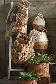 Mud Pie Collapsible Cotton-Straw Basket-Small - Side cropped