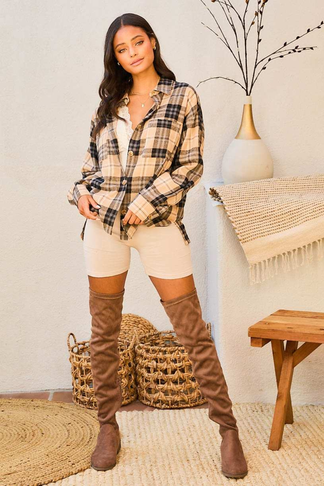 Mainstrip  Collar Neck Button Down Plaid Oversize Shirt - Front Full Image