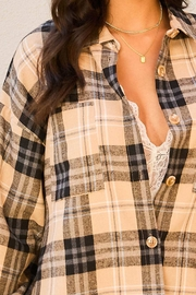 Mainstrip  Collar Neck Button Down Plaid Oversize Shirt - Back cropped