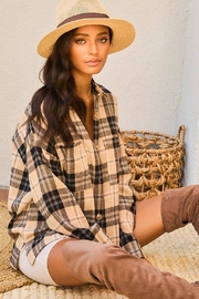 Mainstrip  Collar Neck Button Down Plaid Oversize Shirt - Front cropped