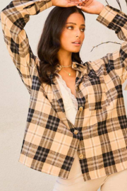 Mainstrip  Collar Neck Button Down Plaid Oversize Shirt - Side cropped