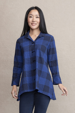 Habitat Collared button down blouse with puckered fabric - Product List Image