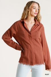 Umgee  Collared Button Down Long Sleeve Top - Product Mini Image