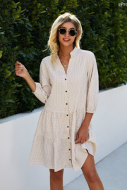 ePretty Collared Button Down Dress - Front cropped